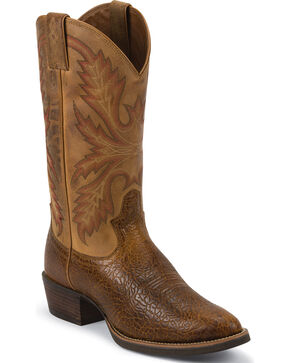 Justin Men's Silver Collection Buffalo Western Boots, Tan, hi-res