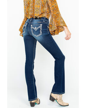 Miss Me Women's Embroidered Pocket Dark Boot Jeans  , Blue, hi-res