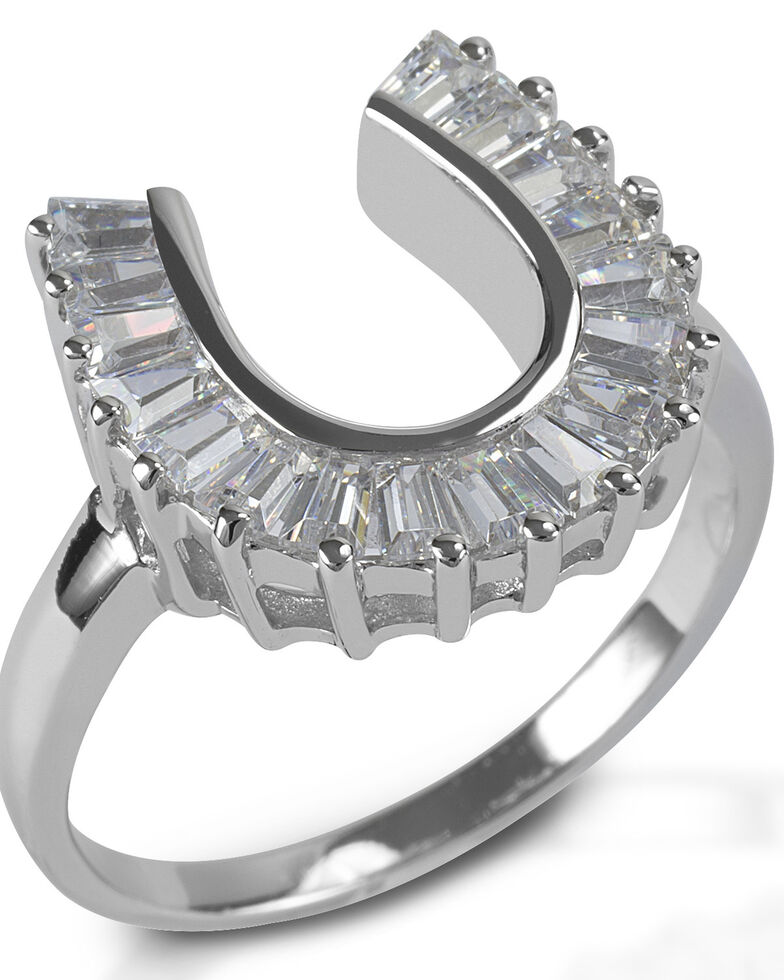 Kelly Herd Women's Baguette Horseshoe Ring , Silver, hi-res
