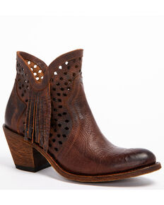 Shyanne Women's Brown Nicki Zipper Booties - Round Toe, Brown, hi-res