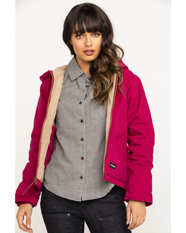 Berne Women's Pomegranate Washed Fine Sherpa Lined Hooded Coat - Plus, Red, hi-res