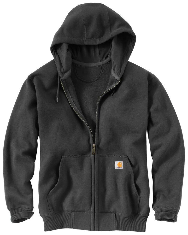 Carhartt Men's Rain Defender Paxton Heavyweight Zip Front Hooded Work Sweatshirt , Dark Grey, hi-res