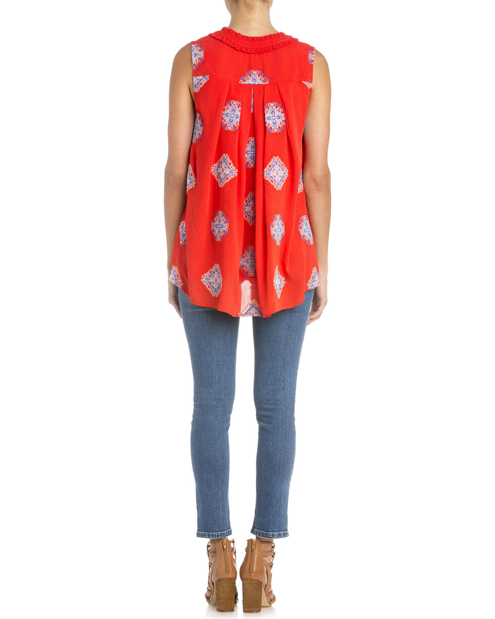 Miss Me Women's Piece Of Art Sleeveless Top, Coral, hi-res