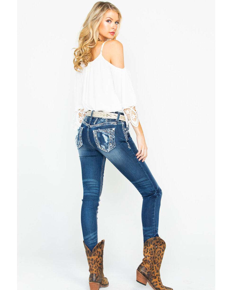 Grace In LA Women's Distressed Embroidered Blowout Pocket Skinny Jeans , Blue, hi-res