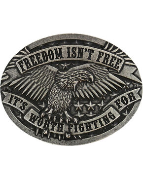 Cody James® Men's Eagle Oval Belt Buckle, Silver, hi-res
