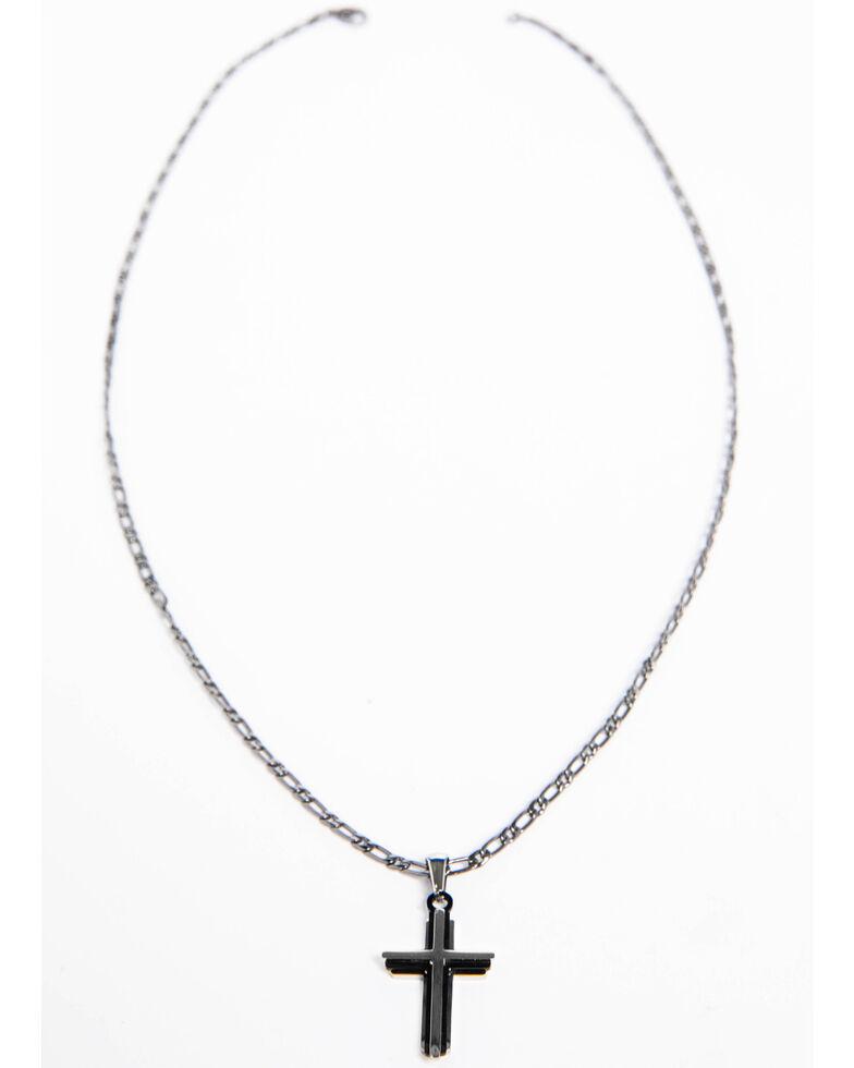 Cody James Men's Cross Gunmetal Necklace, Silver, hi-res