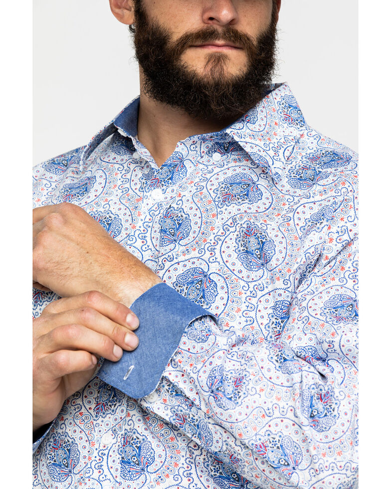 Tuf Cooper Men's Blue Stretch Paisley Print Long Sleeve Western Shirt , Blue, hi-res