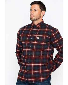 Carhartt Men's Rugged Flex Hamilton Plaid Shirt, Red/brown, hi-res