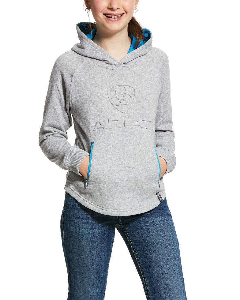 Ariat Girls' 3D Logo Hoodie, Grey, hi-res