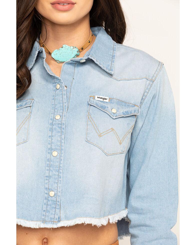 Wrangler Modern Women's Cropped Frayed Denim Shirt, Blue, hi-res