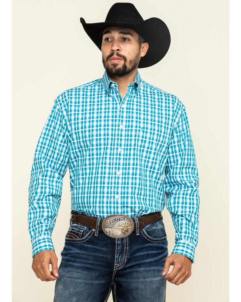 Stetson Men's Cross Walk Ombre Plaid Button Long Sleeve Western Shirt , Blue, hi-res