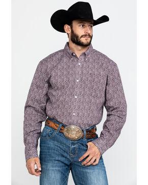 Cody James Core Men's Mar Briarpatch Geo Print Long Sleeve Western Shirt , Maroon, hi-res