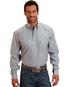 Stetson Men's Open One Pocket Striped Long Sleeve Shirt, Grey, hi-res