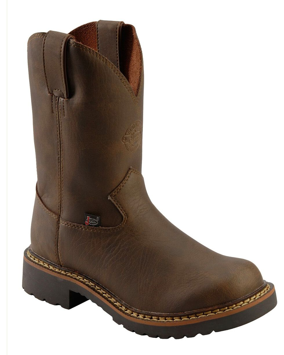 Justin Kid's Rugged Work Boots, Brown, hi-res