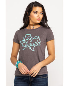 Rock & Roll Cowgirl Women's Texas + Tequila Graphic Tee, Brown, hi-res