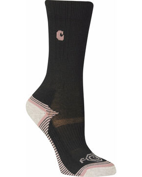 Carhartt Girls' Black Force & Performance 3-Pack Crew Socks, Black, hi-res
