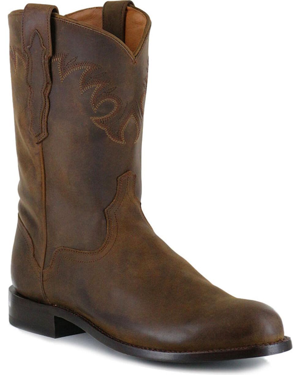El Dorado Men's Distressed Roper Western Boots, Tan, hi-res