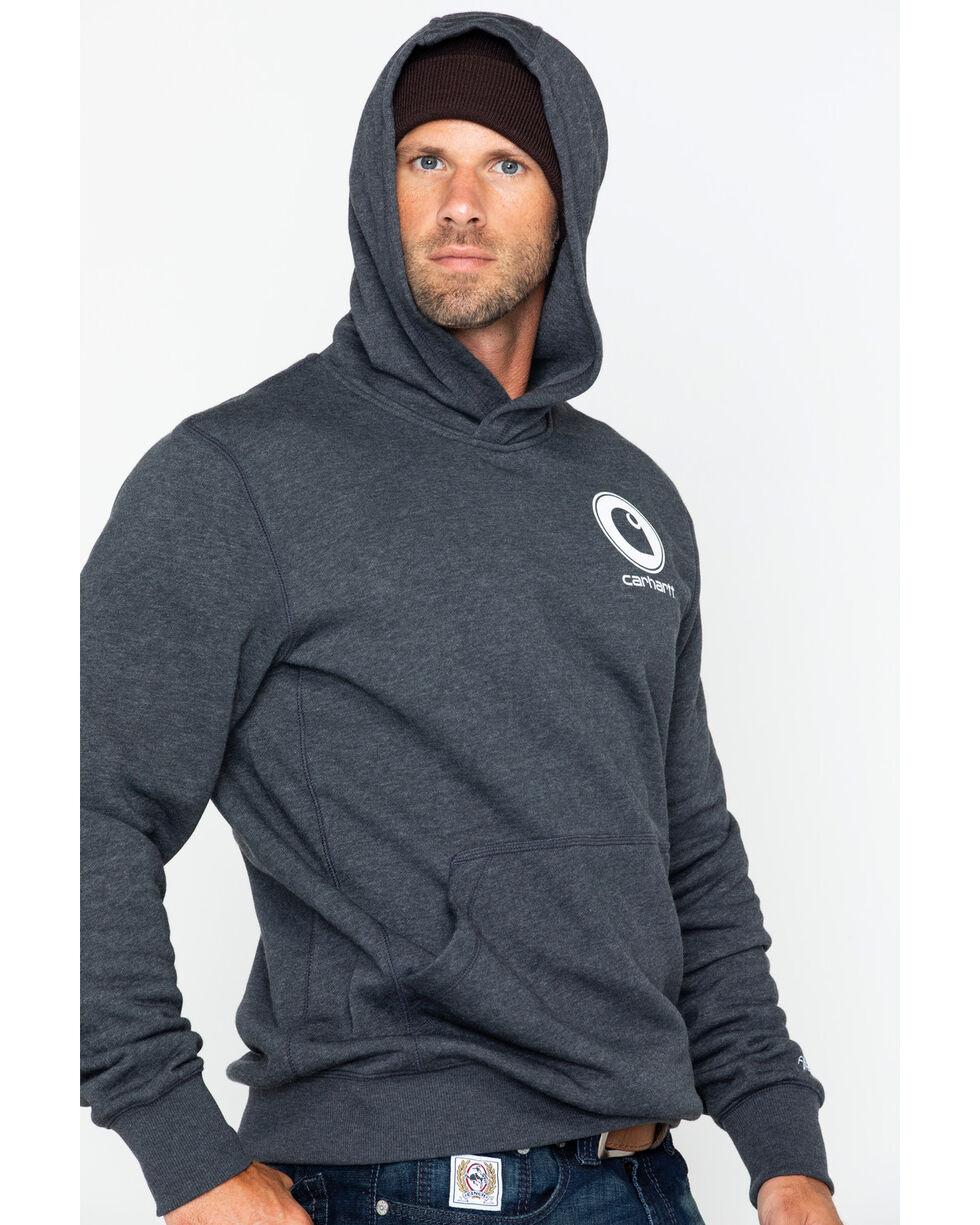 Carhartt Men's Force Delmont Graphic Hooded Work Sweatshirt , Black, hi-res