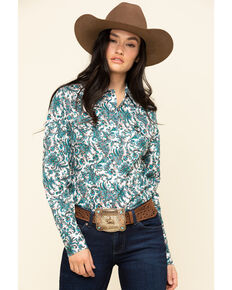 Cinch Women's Teal Paisley Snap Long Sleeve Western Shirt, Teal, hi-res