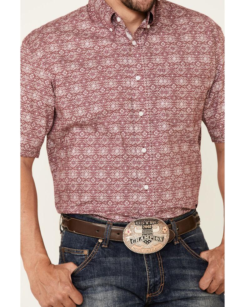 Rough Stock By Panhandle Men's Maroon Medallion Print Short Sleeve Western Shirt , Wine, hi-res