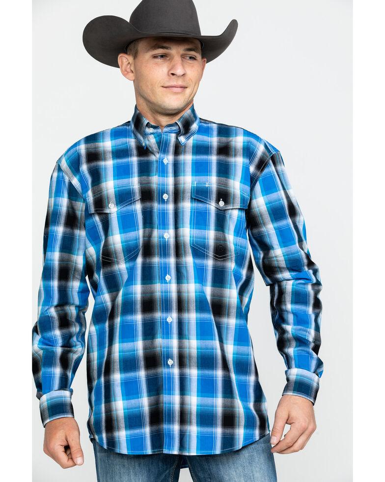 Roper Men's Amarillo Stari Plaid Long Sleeve Western Shirt , Blue, hi-res