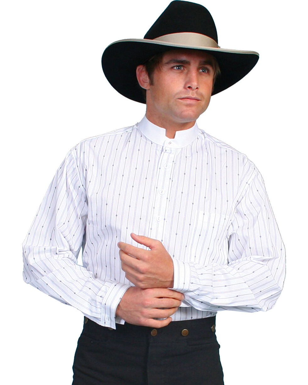 Scully Men's Stand Up Collar Striped Long Sleeve Shirt, White, hi-res