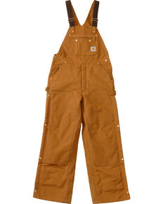 Carhartt Men's Duck Zip-To-Thigh Quilt Lined Bib Overall, Brown, hi-res