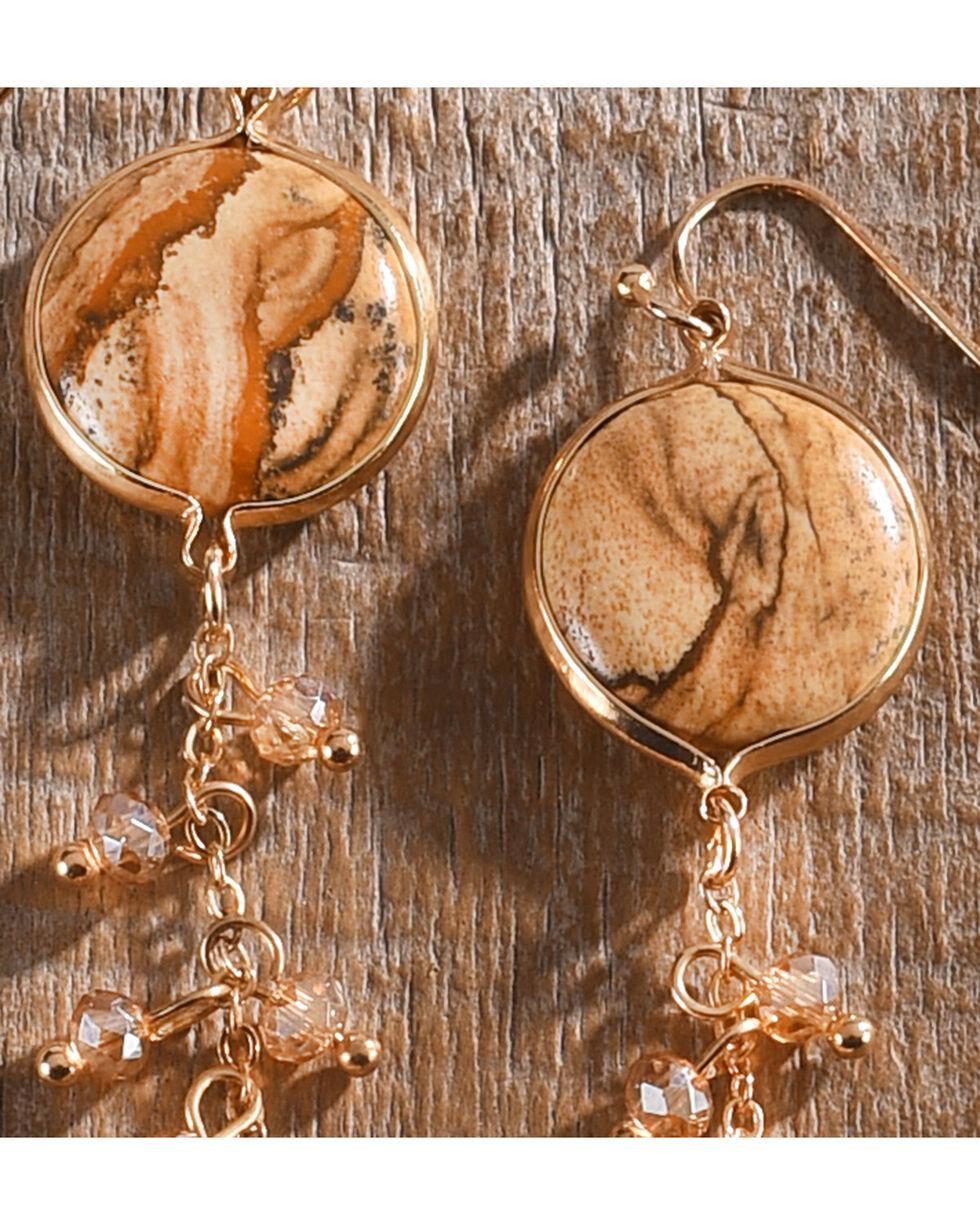 Lost & Found Women's Jasper Chain Earrings , Brown, hi-res