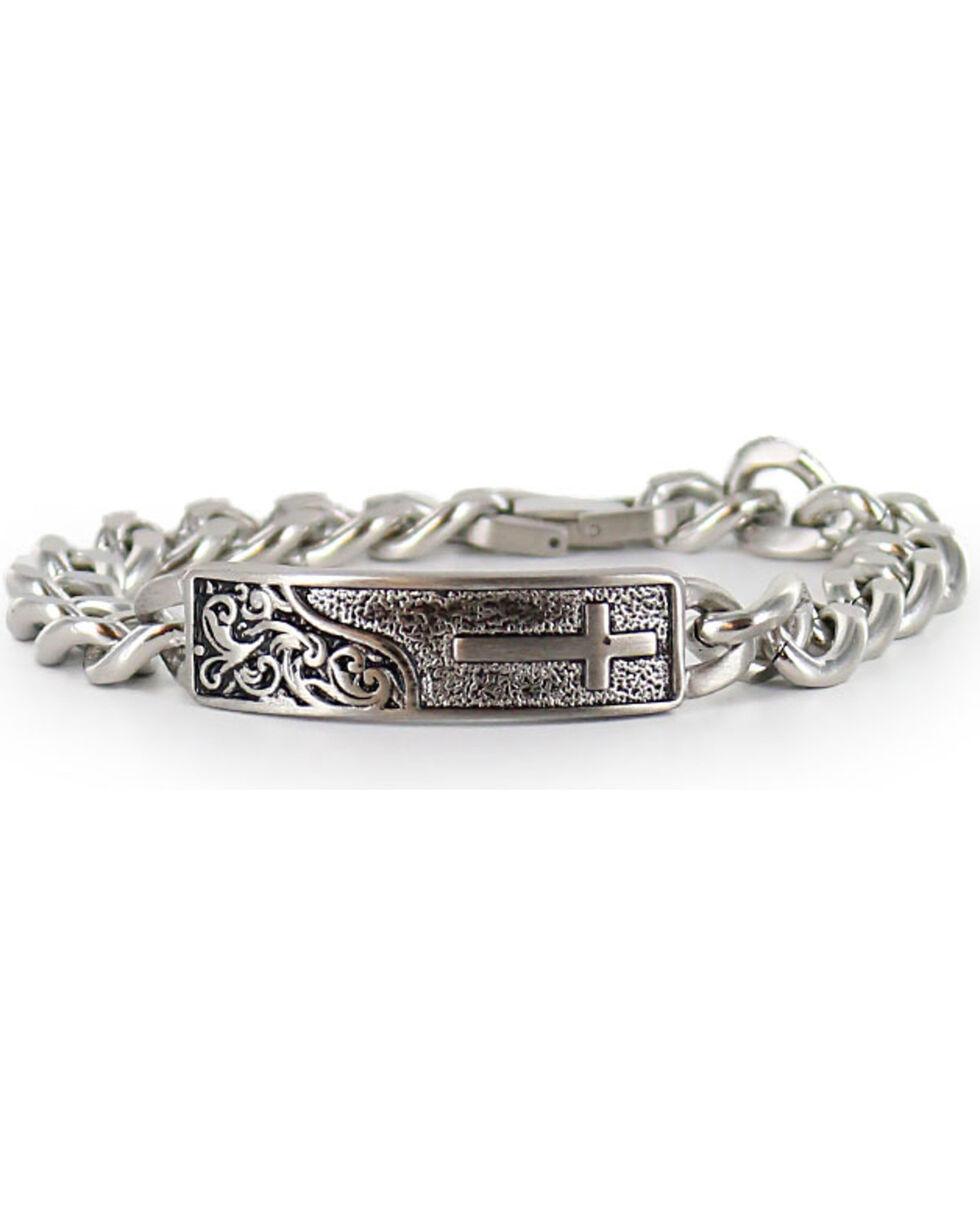Cody James® Men's Silver Cross Bracelet , Silver, hi-res