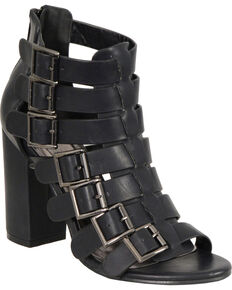 Milwaukee Leather Women's Black Block Heel Strappy Sandals , Black, hi-res