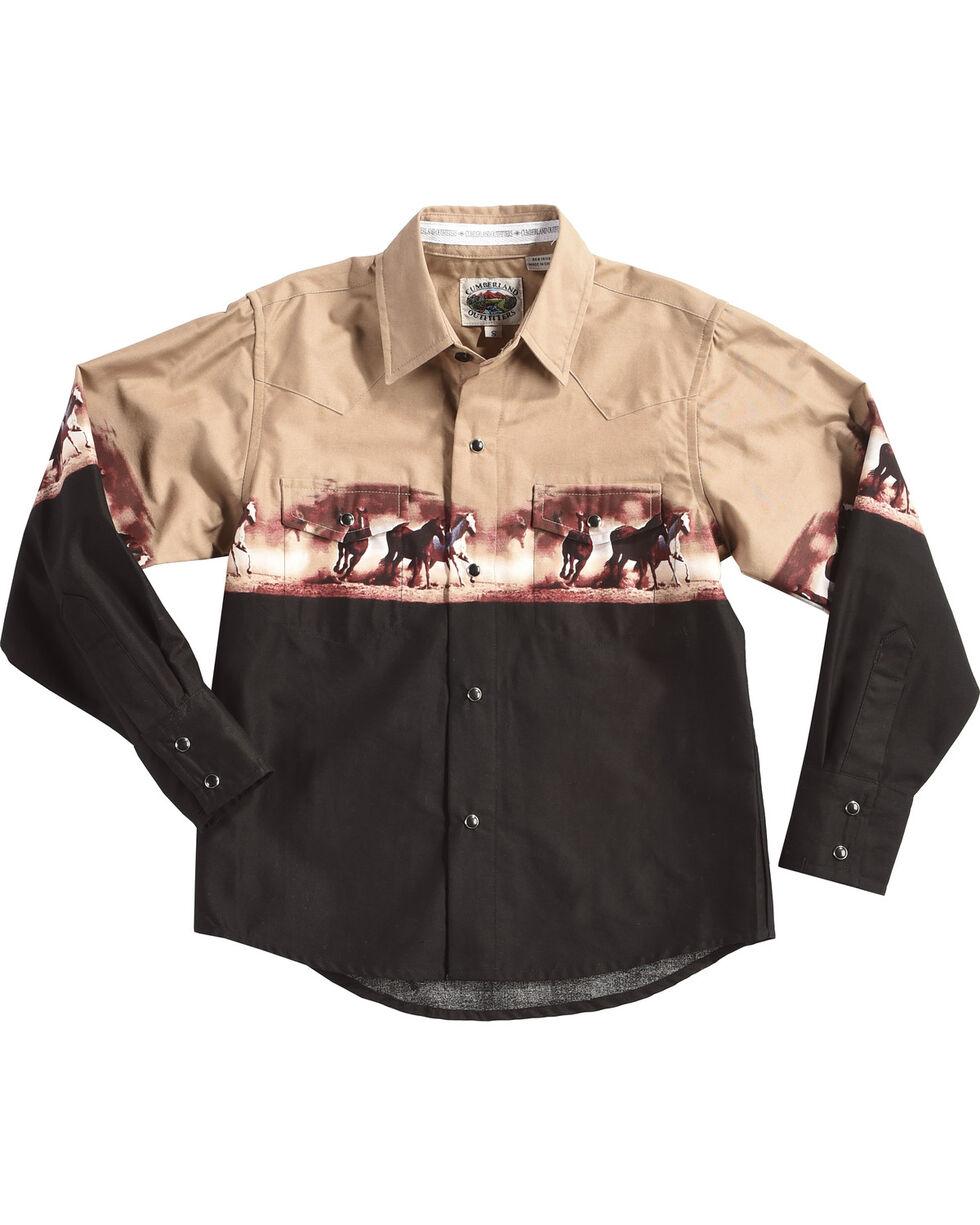 Cumberland Outfitters Boys' Beige Horse Print Shirt , Beige/khaki, hi-res