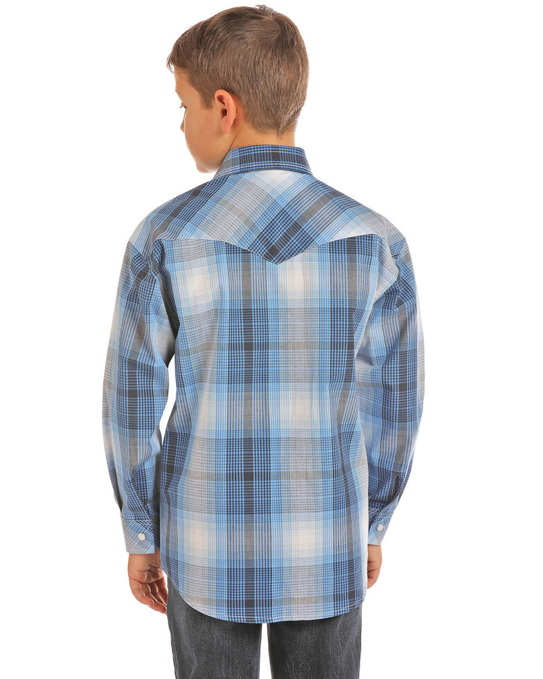 Rock & Roll Cowboy Boys' Poplin Plaid Long Sleeve Western Shirt , Blue, hi-res