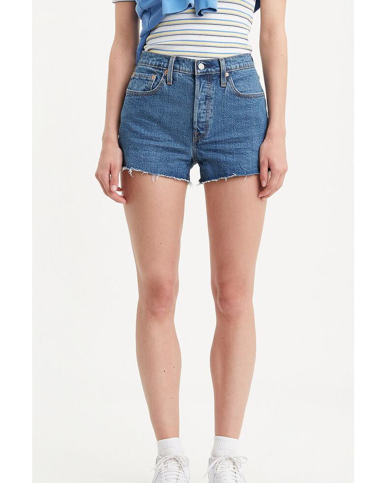 Levi's Women's Medium High Rise Raw Hem Shorts, Blue, hi-res