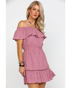 Rock & Roll Cowgirl Women's Off The Shoulder Ruffle Eyelet Dress, Mauve, hi-res