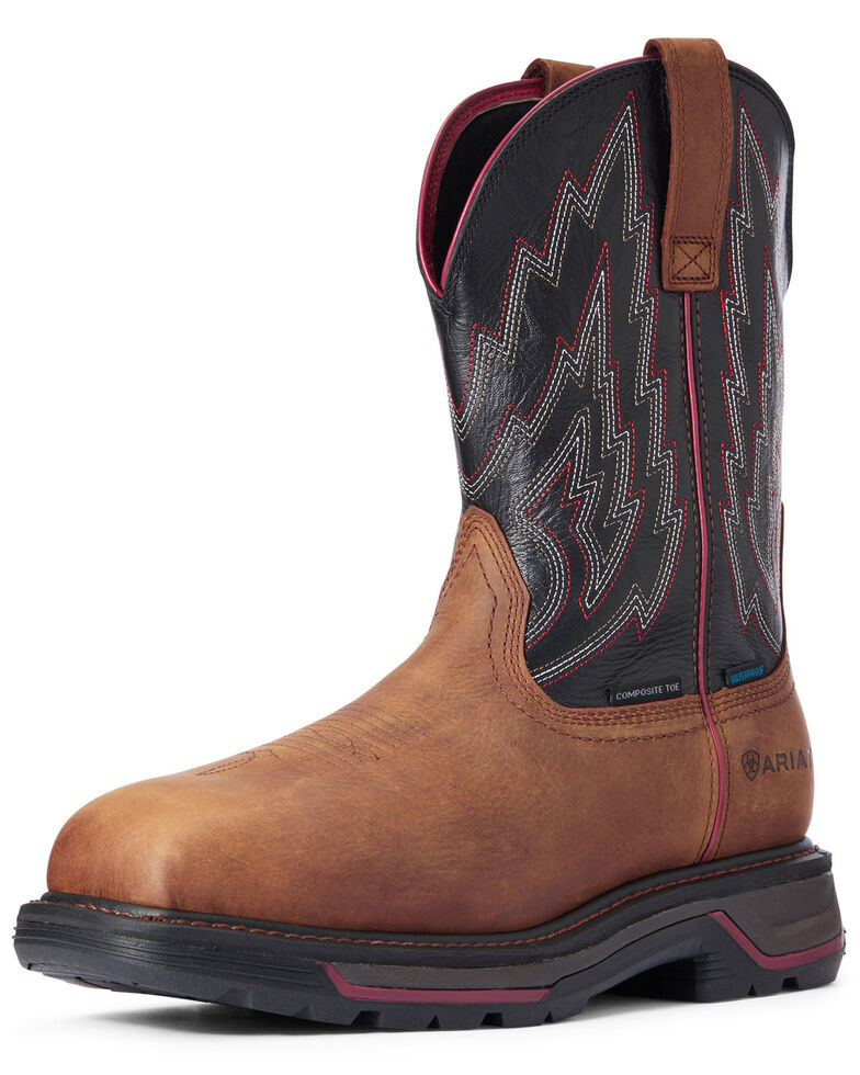 Ariat Men's Mesa Big Rig Waterproof Western Work Boots - Composite Toe, Brown, hi-res