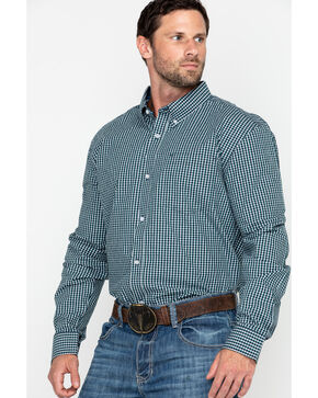 Cody Core Men's Muldoon Small Check Plaid Long Sleeve Western Shirt - Big, Navy, hi-res