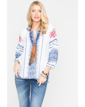 Johnny Was Women's Shea Peasant Blouse , White, hi-res