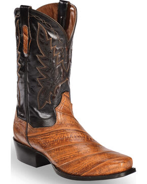 Dan Post Men's Two Tone Eel Cowboy Boots - Square Toe, Rust Copper, hi-res