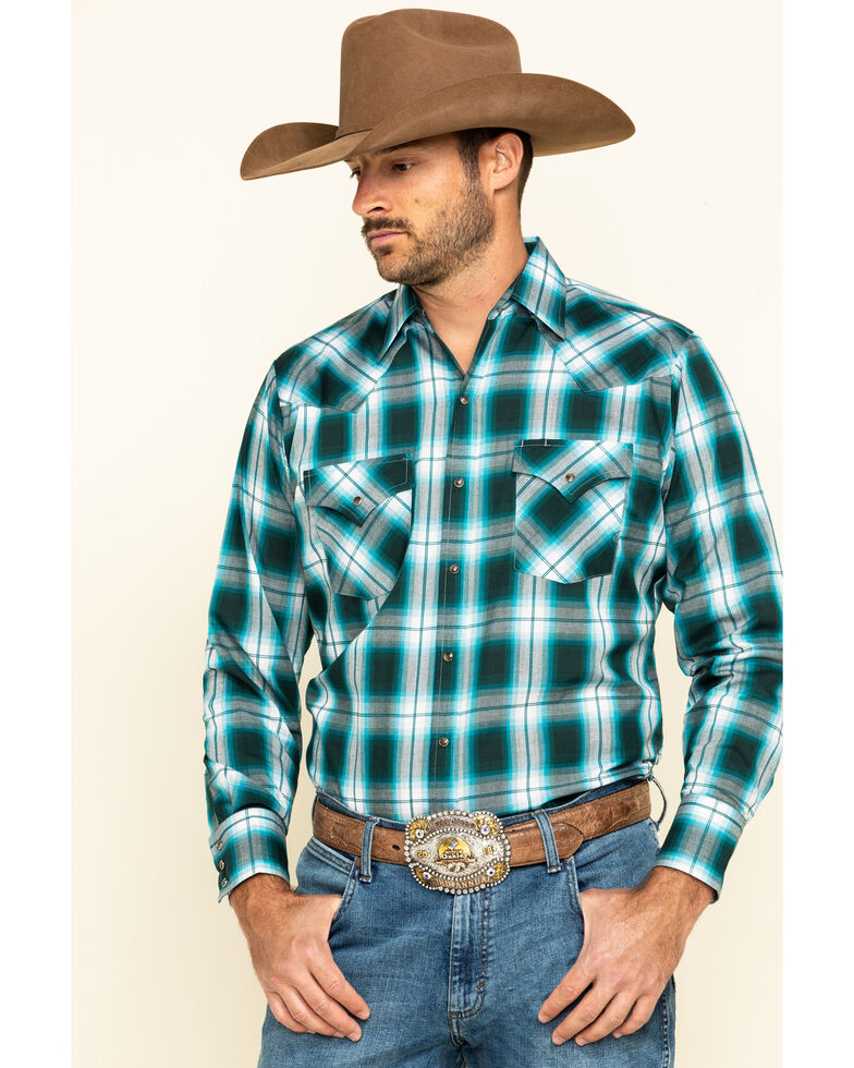 Ely Cattleman Men's Turquoise Plaid Long Sleeve Western Shirt - Tall, Jade, hi-res
