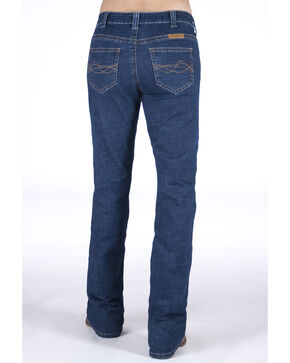 Cowgirl Tuff Women's Delux Medium Wash Bootcut Jeans, Blue, hi-res