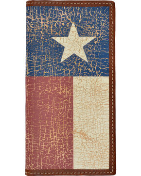 3D Men's Distressed Flag Western Rodeo Wallet, Tan, hi-res