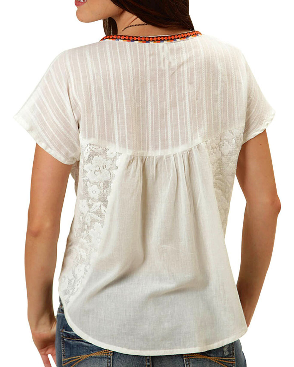 Roper Women's Peasant Blouse, White, hi-res
