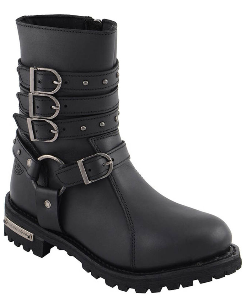 Milwaukee Leather Women's Triple Buckle Harness Moto Boots - Round Toe, Black, hi-res