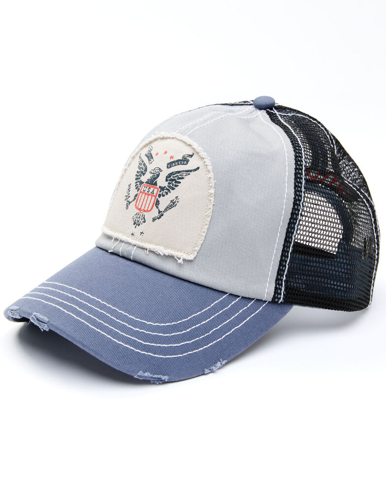 Idyllwind Women's USA Eagle Patch Mesh-Back Ball Cap, Blue, hi-res