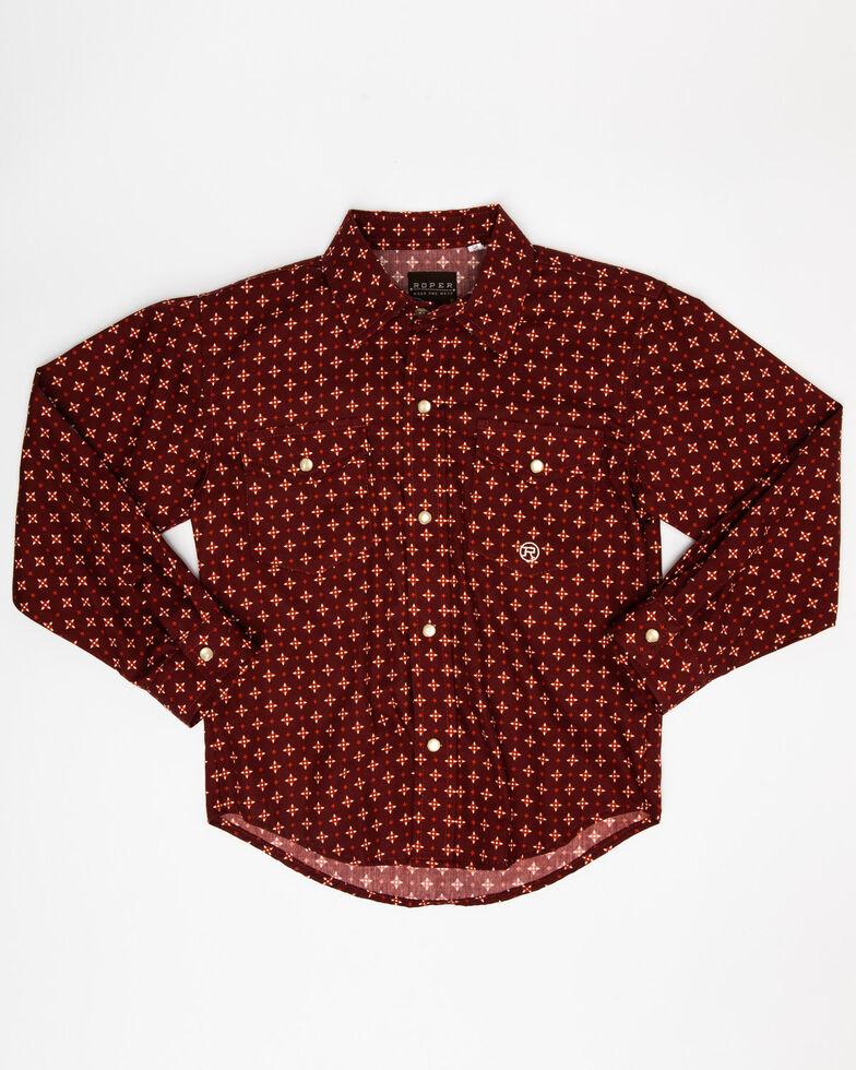 Roper Boys' Amarillo Voyager Foulard Geo Print Long Sleeve Western Shirt , Red, hi-res