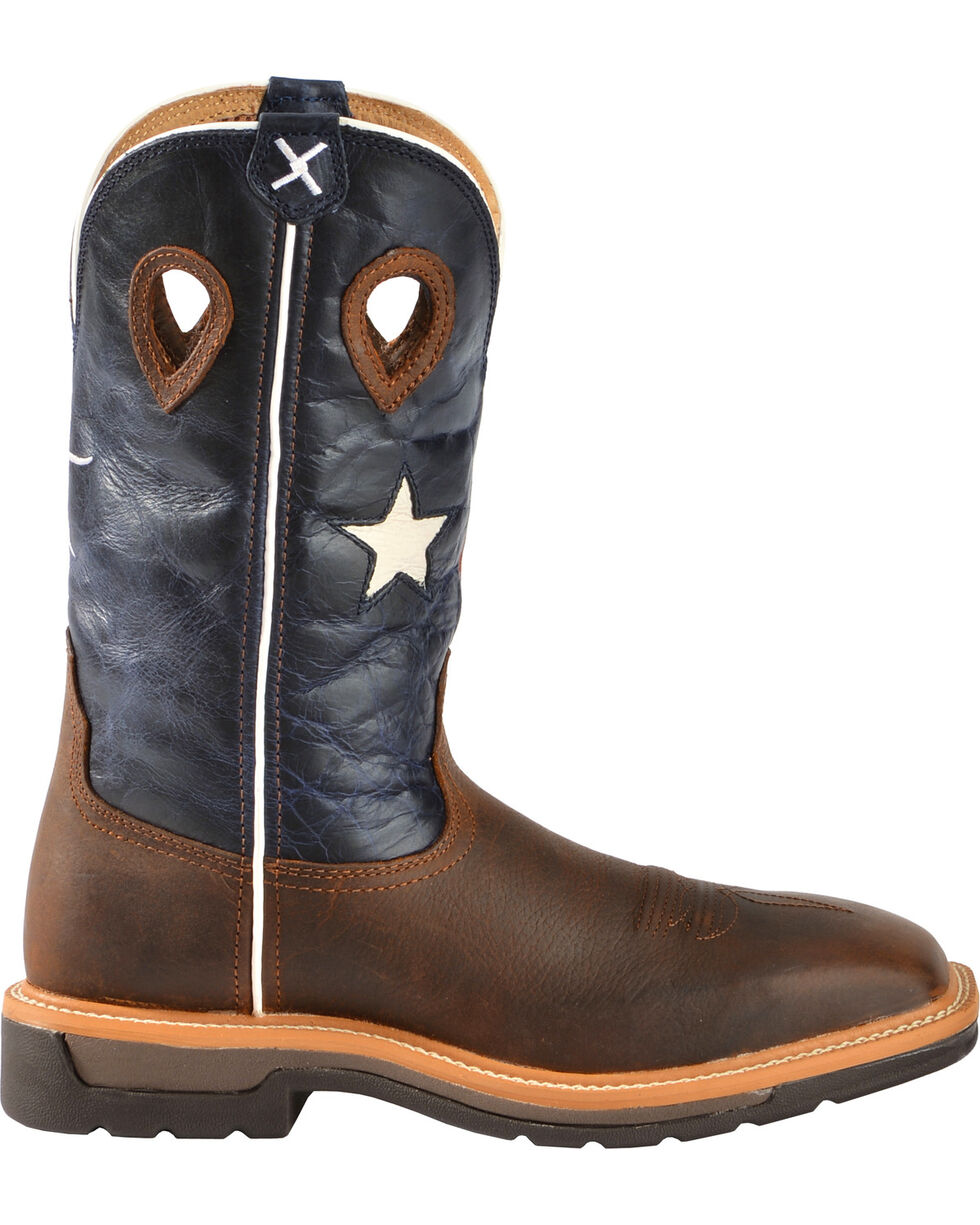 "Twisted X Men's 12"" Lite Texas Flag Work Boots, Brown, hi-res"