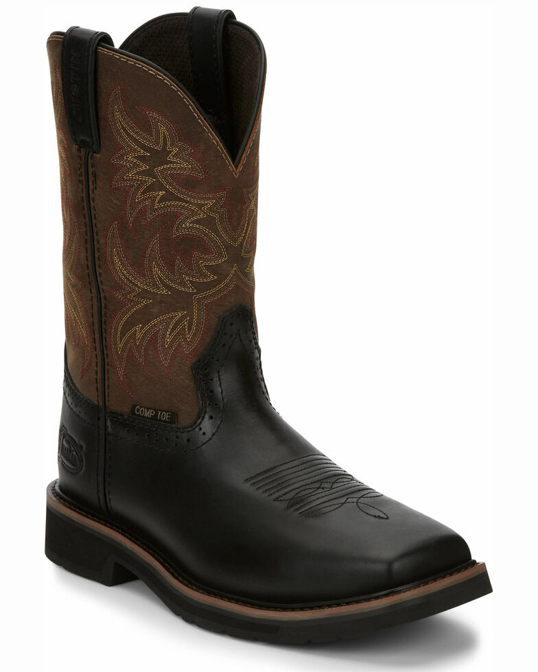 Justin Men's Driller Western Work Boots - Composite Toe, Black, hi-res