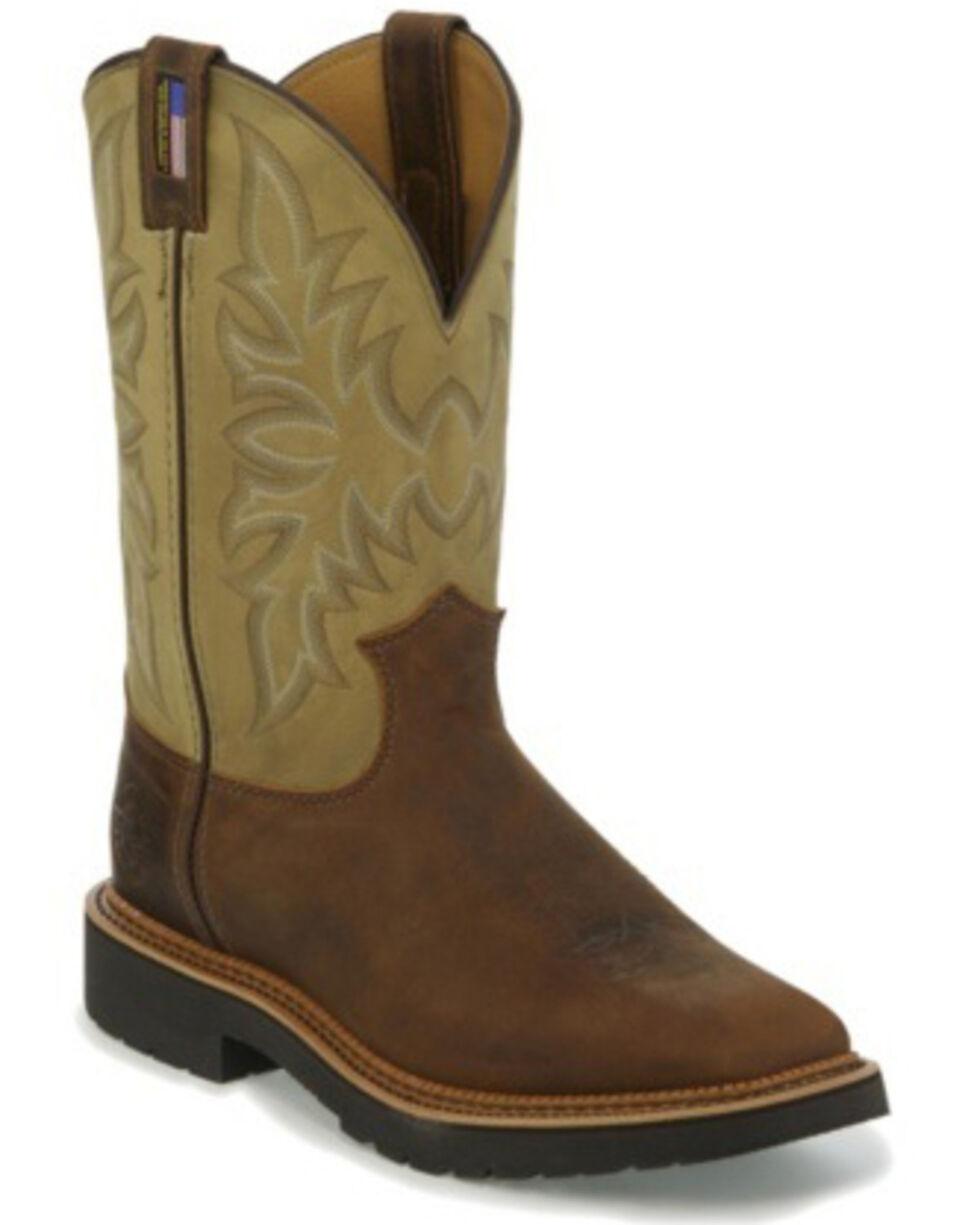 Justin Men's Scottsbluff Western Work Boots - Soft Toe, Tan, hi-res