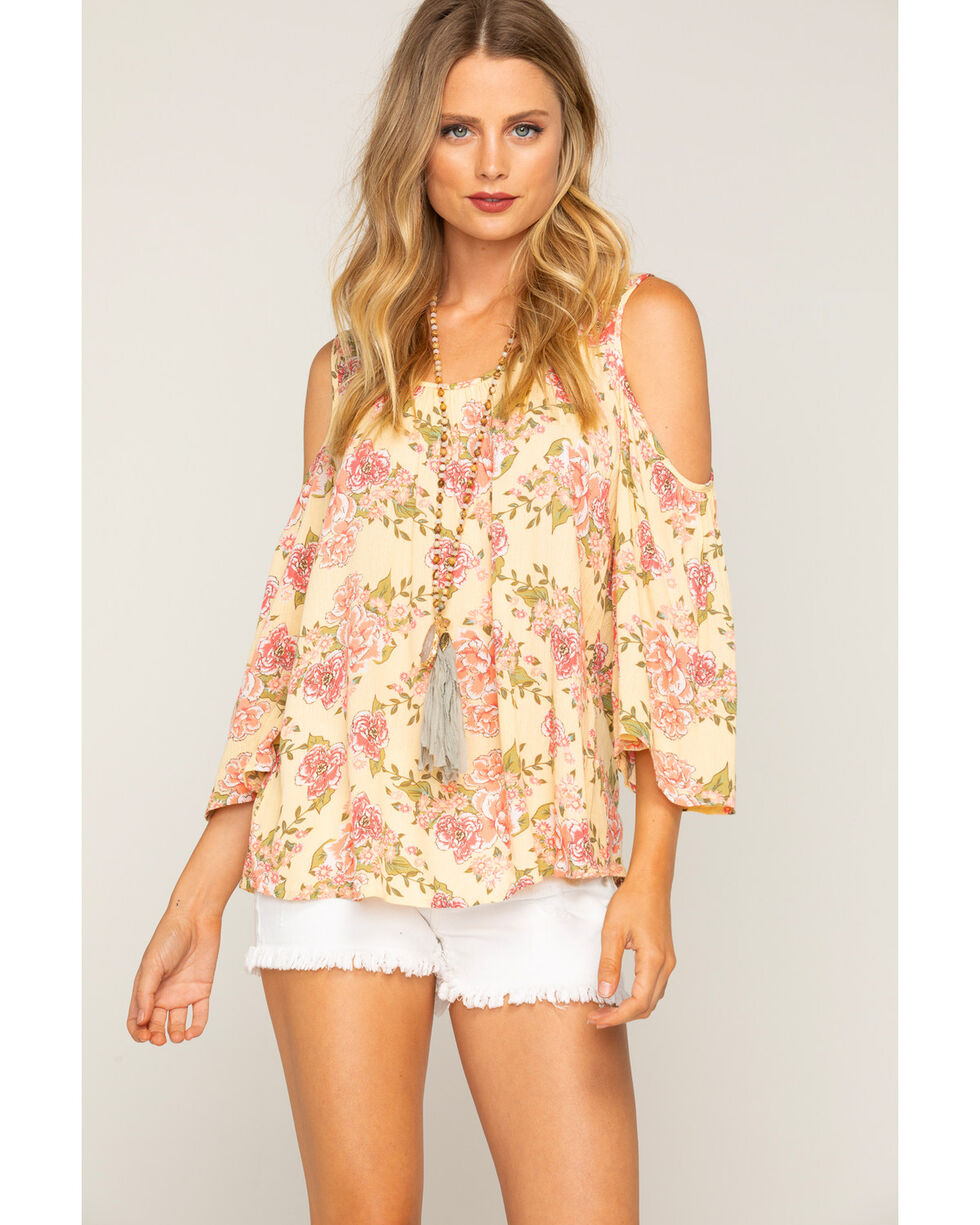 Shyanne Women's Floral Cold Shoulder Long Sleeve Top, Yellow, hi-res