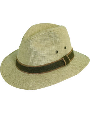 Dorfman Pacific Camel Hemp with Leather Trim Safari Hat, Camel, hi-res